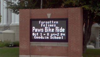 Pedal for Paws sign
